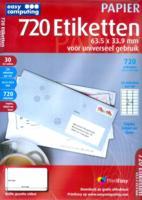 Easy Computing 720 Etiketten, 63.5 x 33.9 mm voor universeel gebruik (Papier)